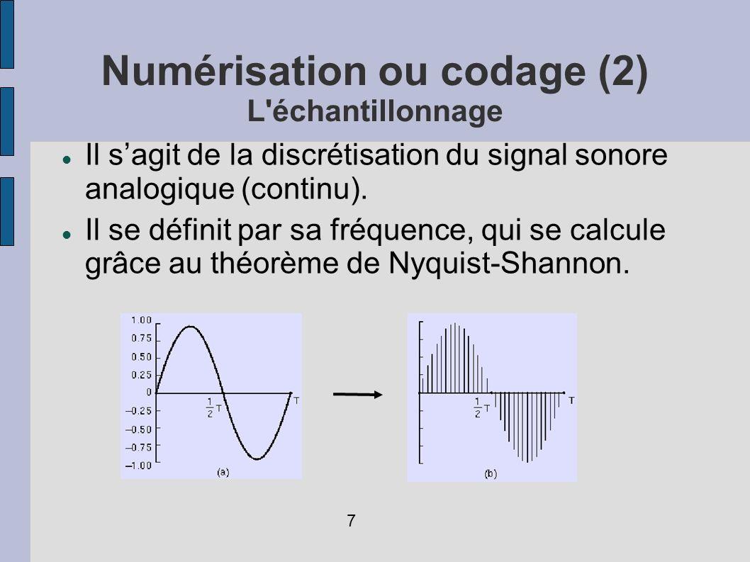 Numérisation ou codage (2) L échantillonnage
