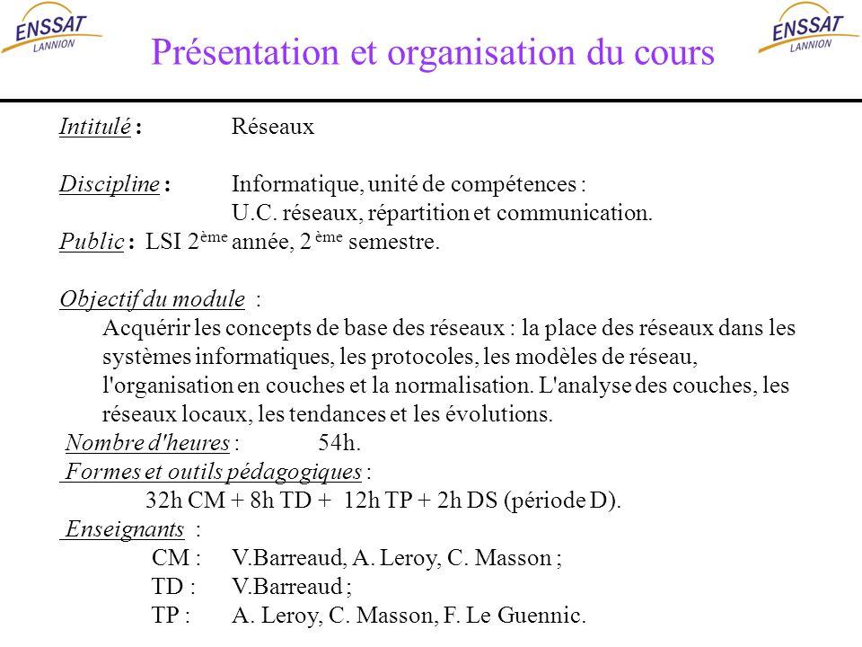 Présentation et organisation du cours