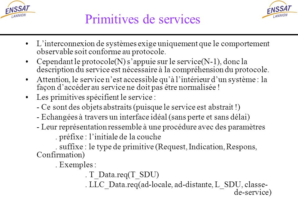 Primitives de services