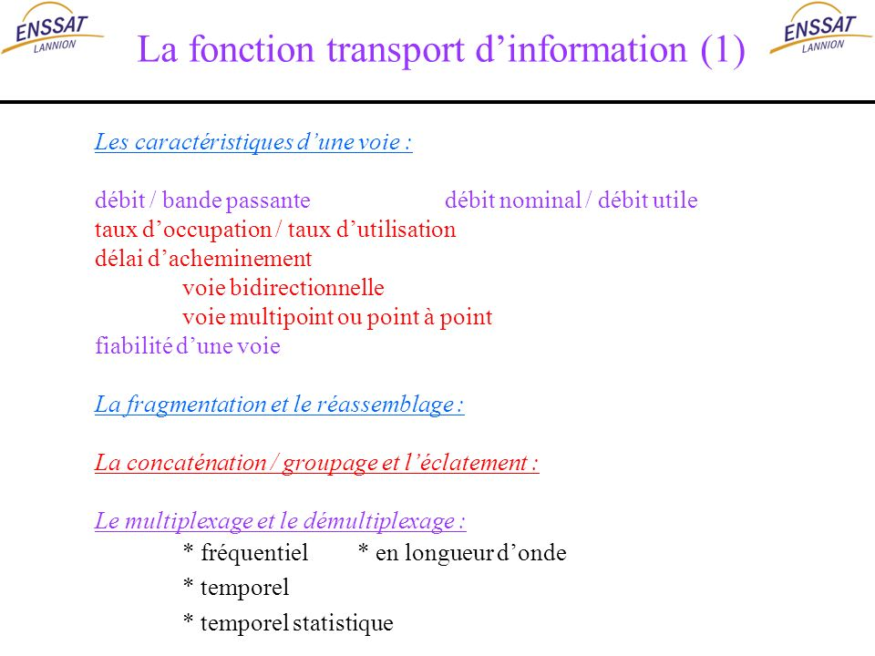 La fonction transport d'information (1)