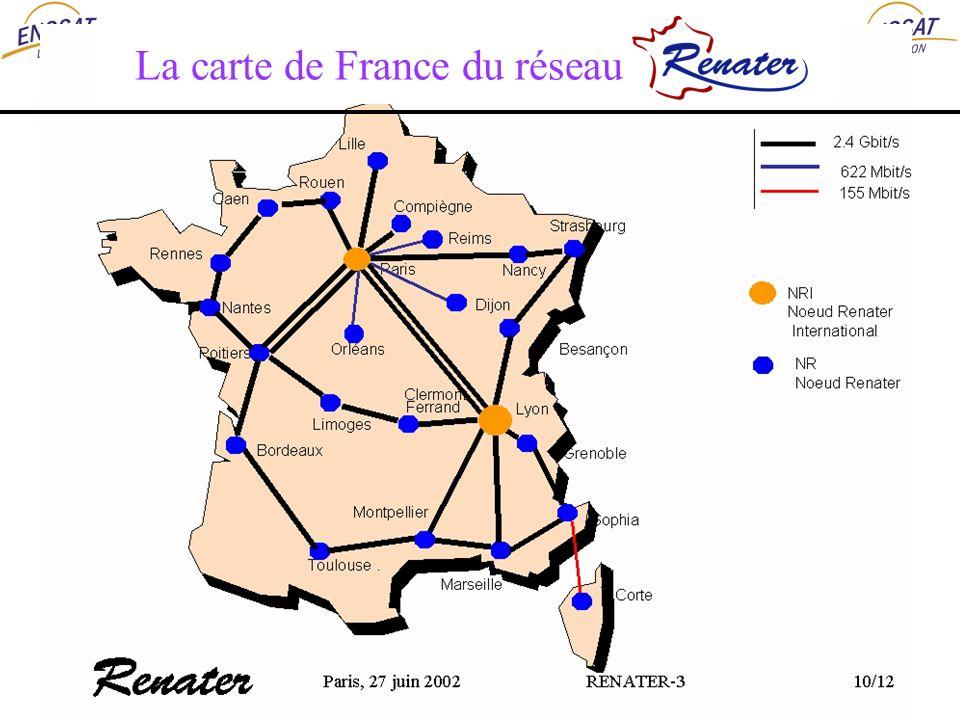 La carte de France du réseau Renater 3