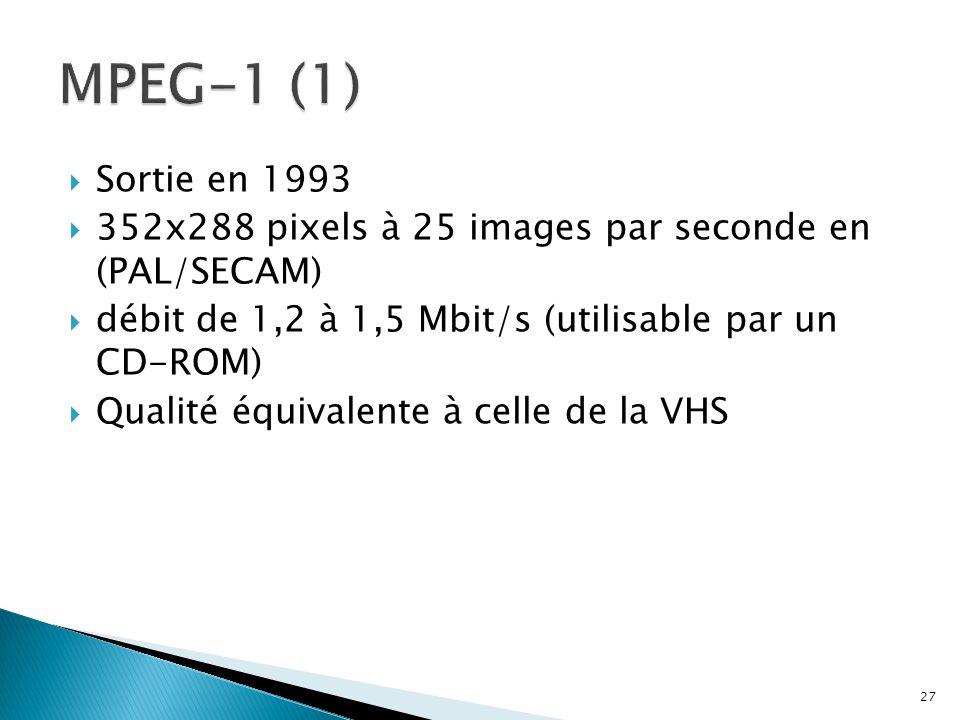 MPEG-1 (1)Sortie en 1993. 352x288 pixels à 25 images par seconde en (PAL/SECAM) débit de 1,2 à 1,5 Mbit/s (utilisable par un CD-ROM)