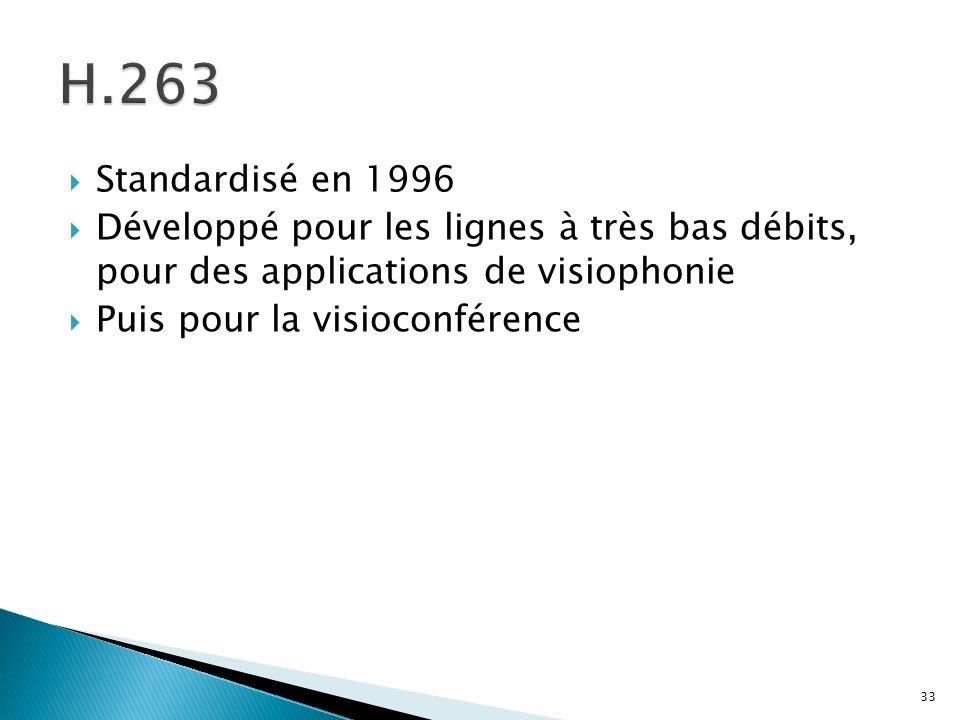H.263Standardisé en 1996. Développé pour les lignes à très bas débits, pour des applications de visiophonie.