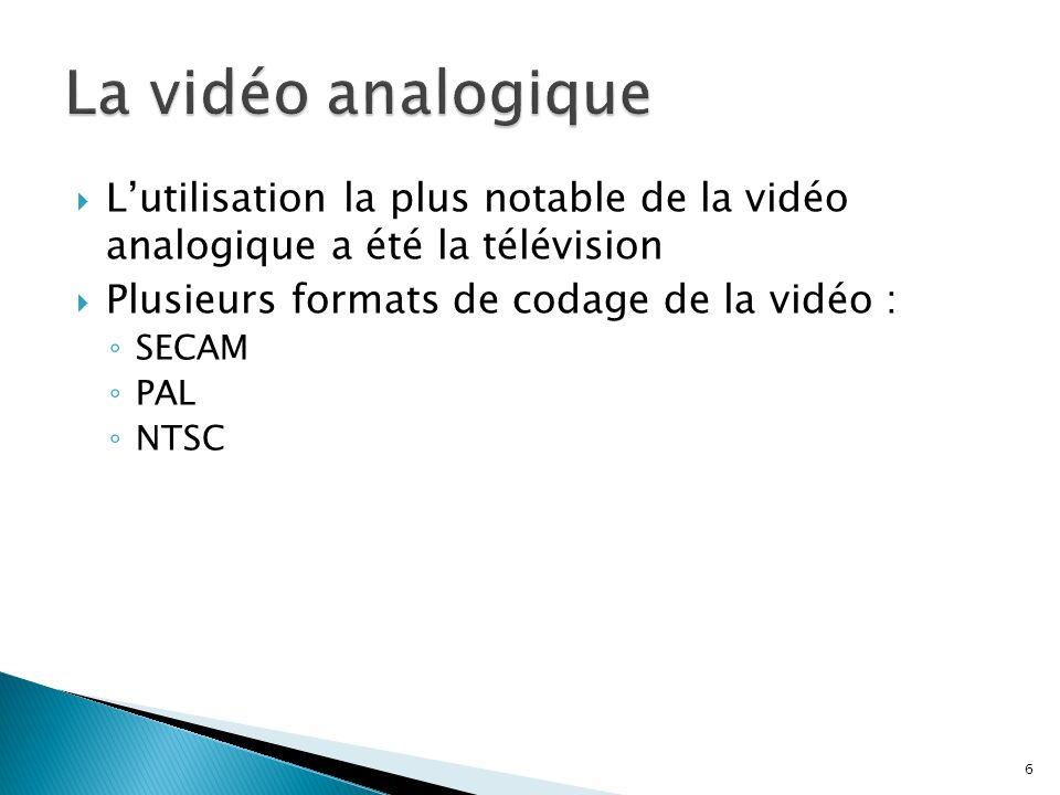 La vidéo analogiqueL'utilisation la plus notable de la vidéo analogique a été la télévision. Plusieurs formats de codage de la vidéo :