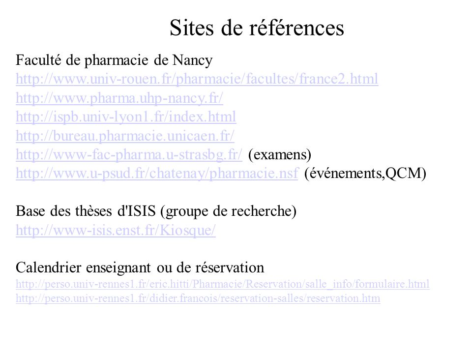 Sites de références Faculté de pharmacie de Nancy