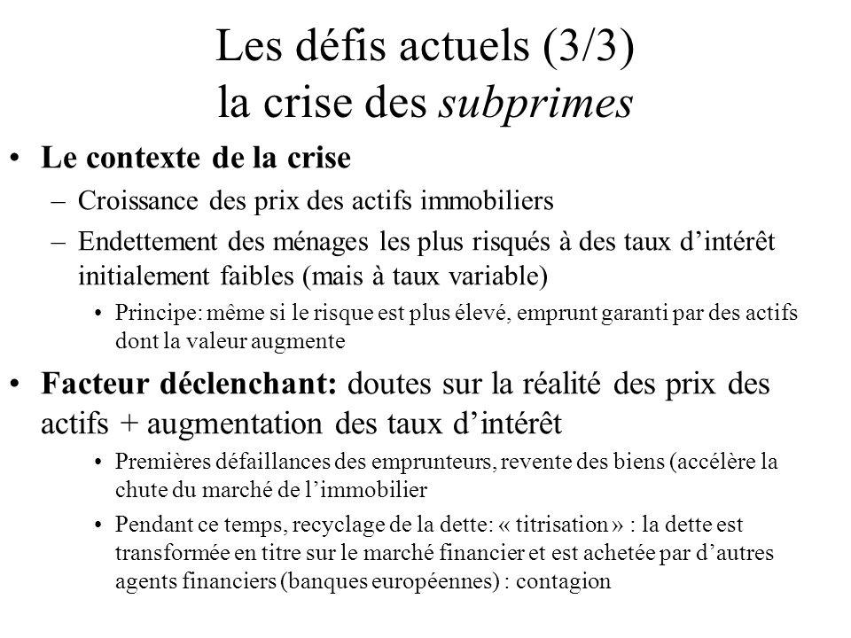Les défis actuels (3/3) la crise des subprimes