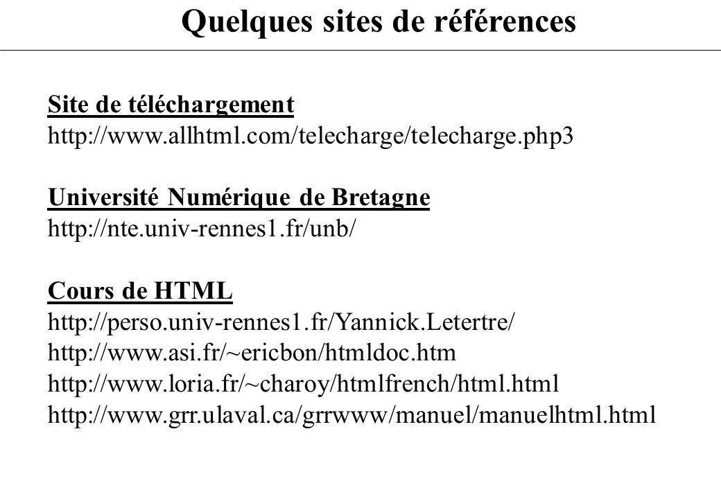 Quelques sites de références