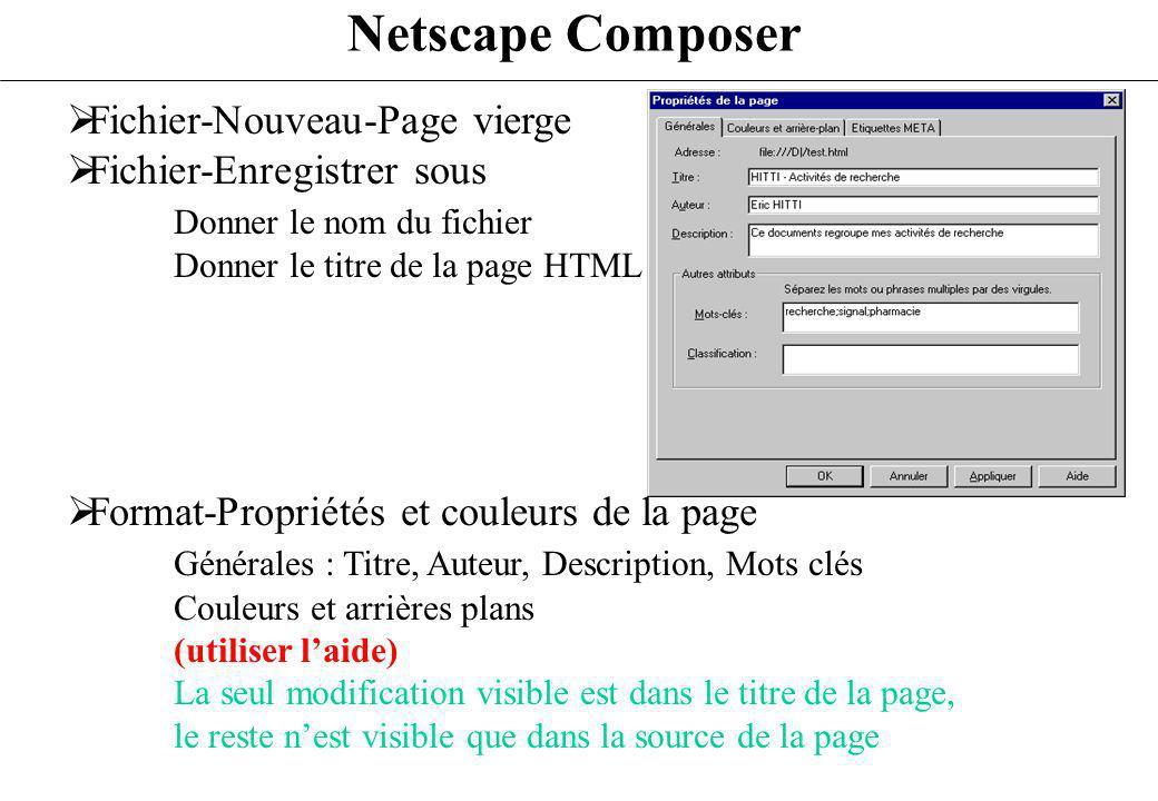 Netscape Composer Fichier-Nouveau-Page vierge Fichier-Enregistrer sous