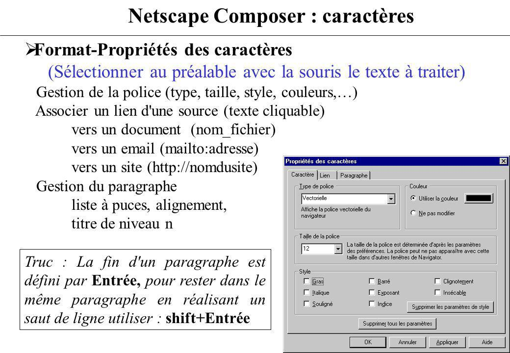 Netscape Composer : caractères