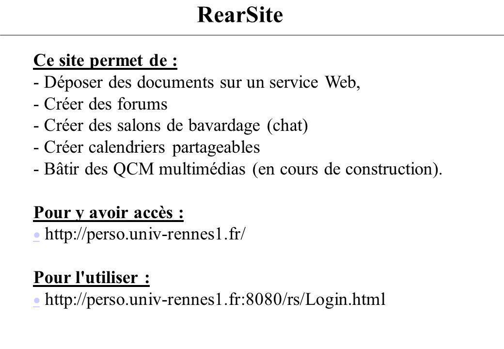 RearSite Ce site permet de :
