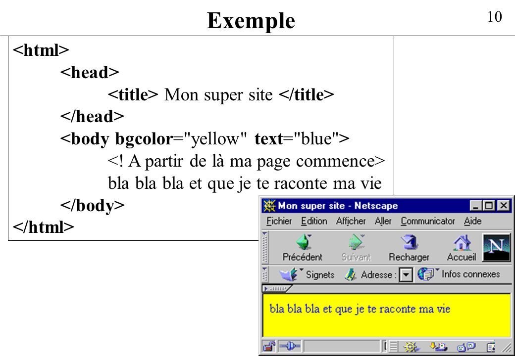Exemple <html> <head>