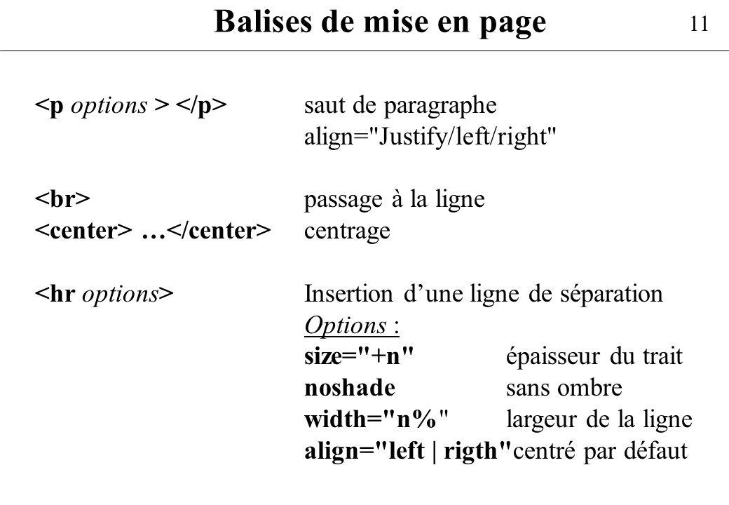 Balises de mise en page<p options > </p> saut de paragraphe. align= Justify/left/right <br> passage à la ligne.