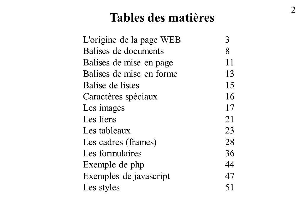 Tables des matières L origine de la page WEB 3 Balises de documents 8