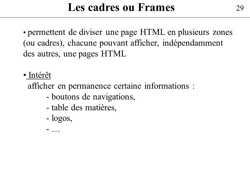 Les cadres ou Frames Intérêt