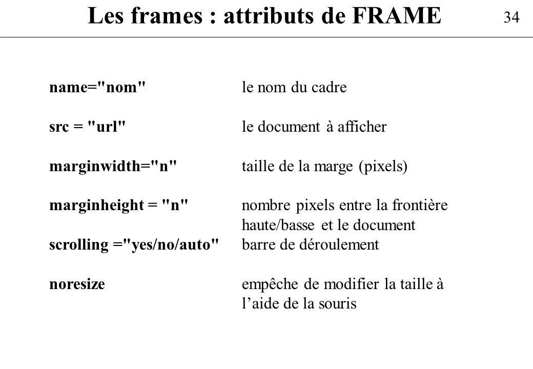 Les frames : attributs de FRAME