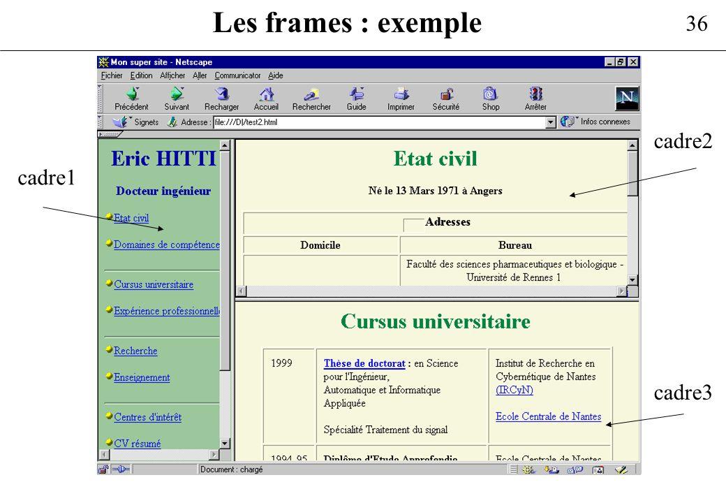 Les frames : exemple cadre2 cadre1 cadre3