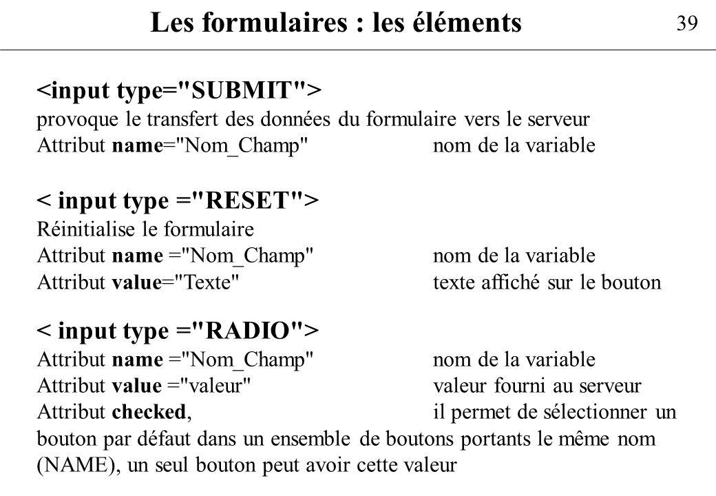 Les formulaires : les éléments