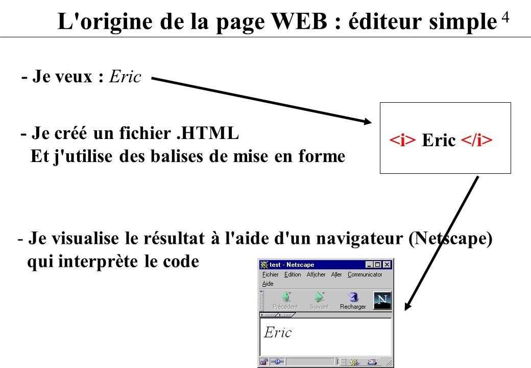L origine de la page WEB : éditeur simple