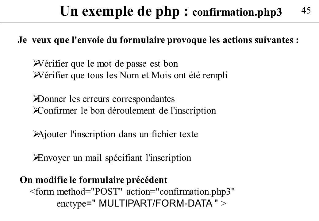 Un exemple de php : confirmation.php3