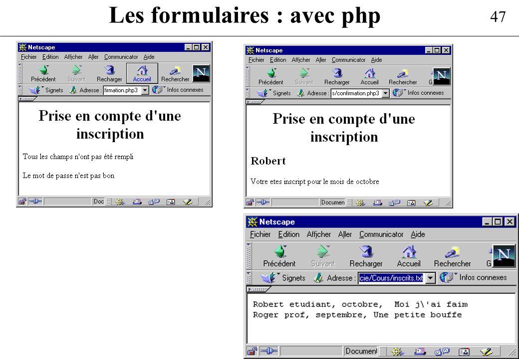 Les formulaires : avec php
