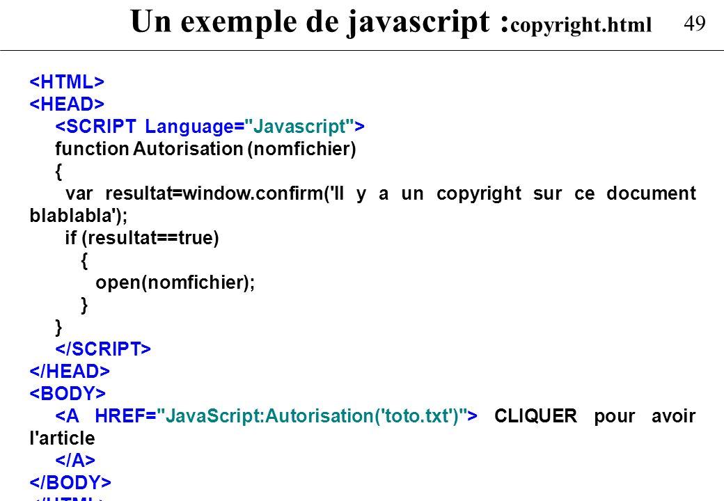 Un exemple de javascript :copyright.html