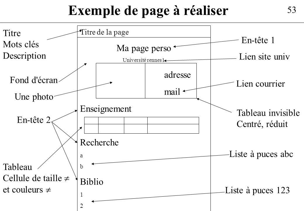 Exemple de page à réaliser