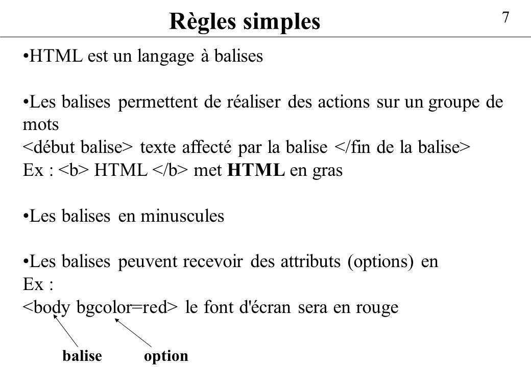 Règles simples HTML est un langage à balises