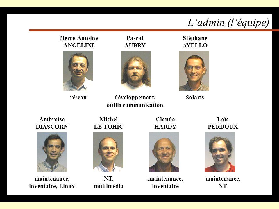 L'admin (l'équipe) Pierre-Antoine ANGELINI réseau Pascal AUBRY
