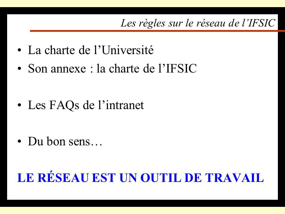 Les règles sur le réseau de l'IFSIC