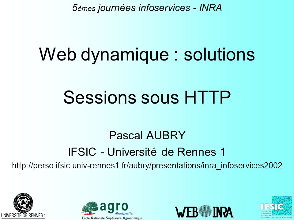 Web dynamique : solutions Sessions sous HTTP