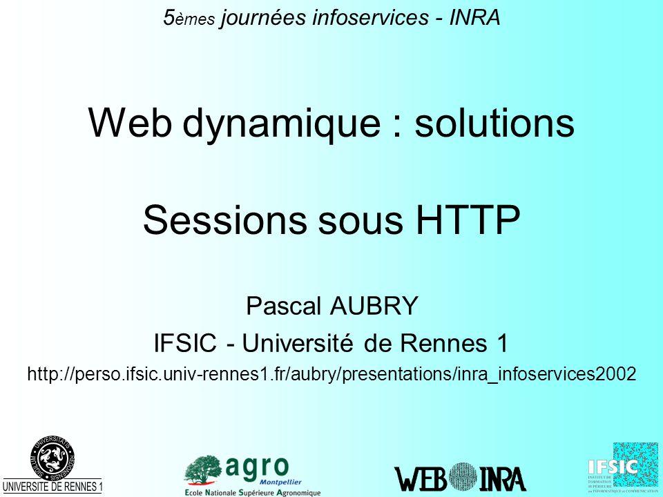 Web dynamique : solutions Sessions sous HTTP