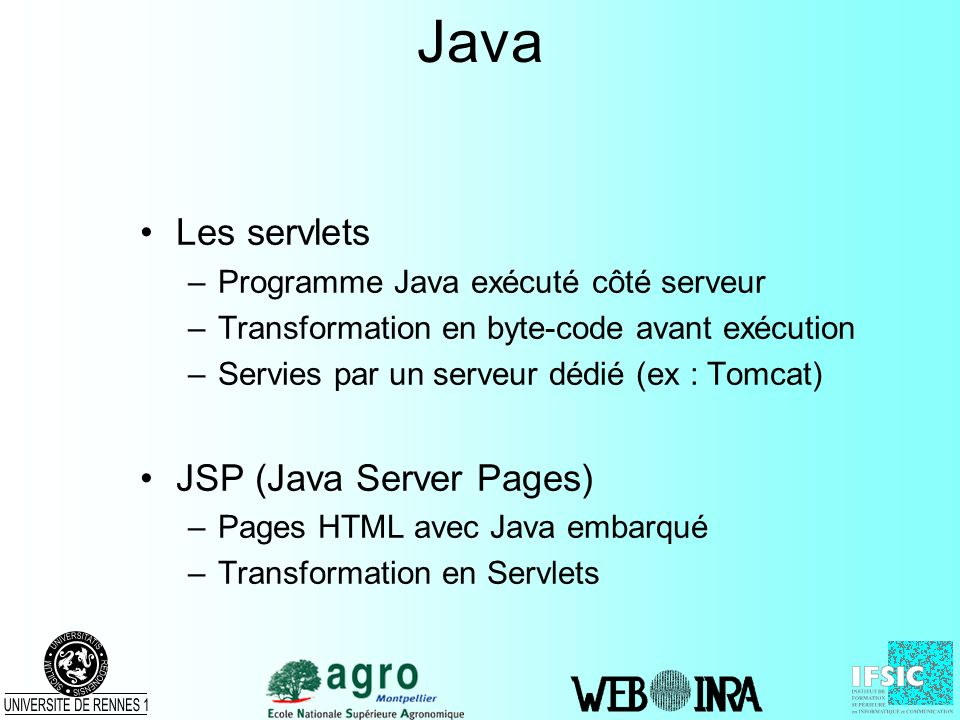 Java Les servlets JSP (Java Server Pages)