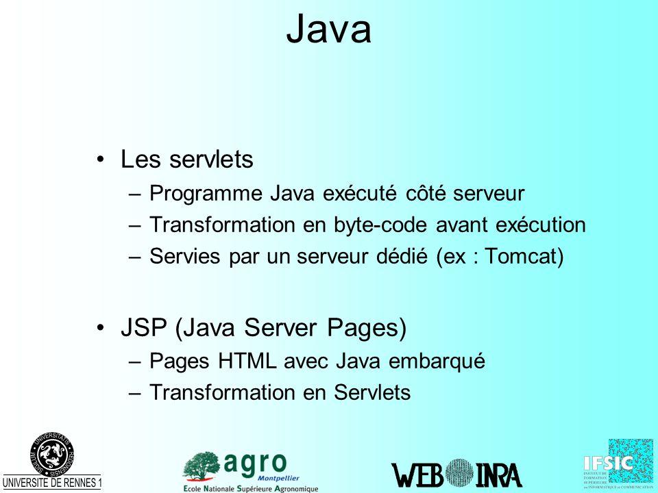 Java Les servlets JSP (Java Server Pages)