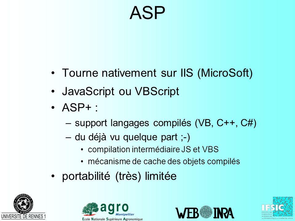 ASP Tourne nativement sur IIS (MicroSoft) JavaScript ou VBScript