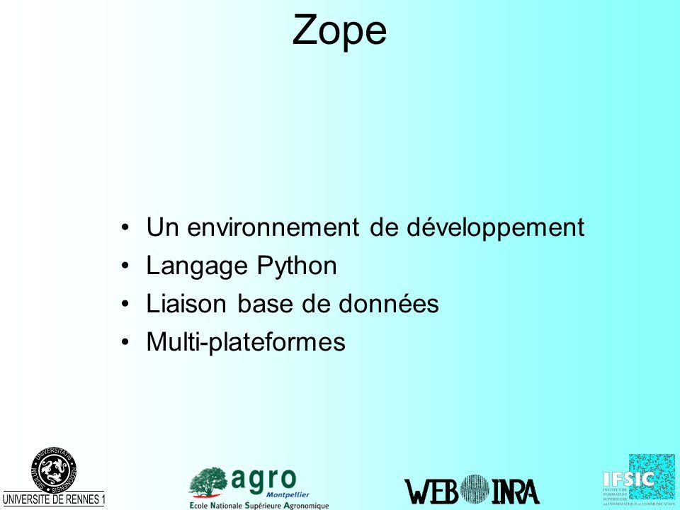 Zope Un environnement de développement Langage Python