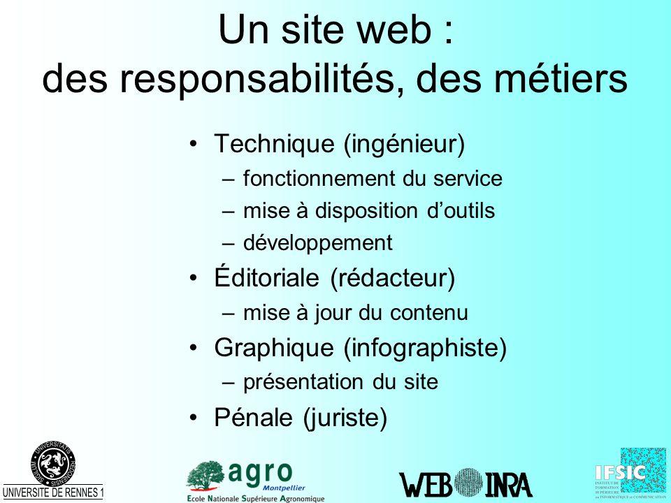Un site web : des responsabilités, des métiers