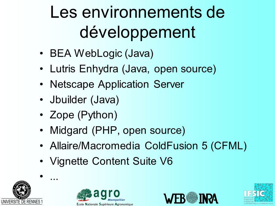 Les environnements de développement