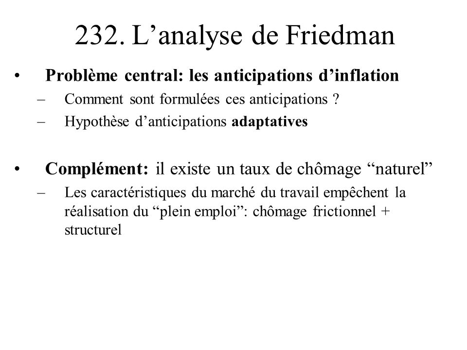 232. L'analyse de Friedman Problème central: les anticipations d'inflation. Comment sont formulées ces anticipations