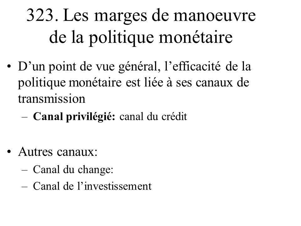 323. Les marges de manoeuvre de la politique monétaire