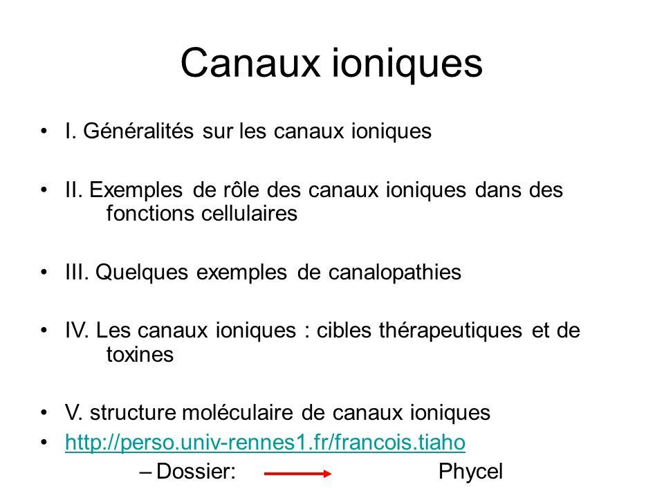 Canaux ioniques I. Généralités sur les canaux ioniques