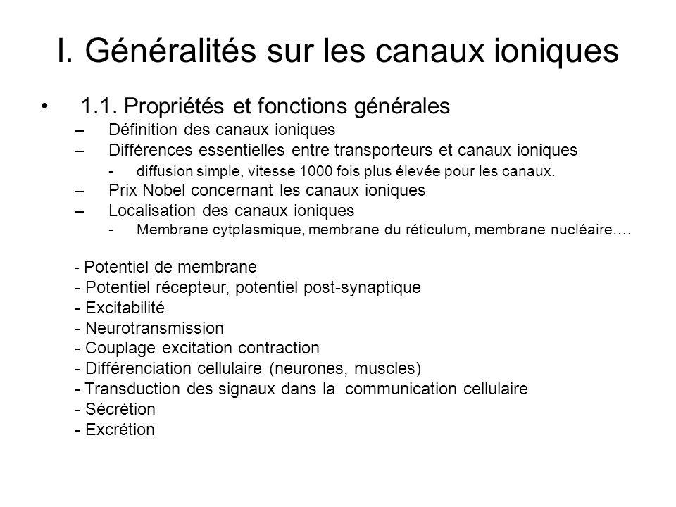 I. Généralités sur les canaux ioniques