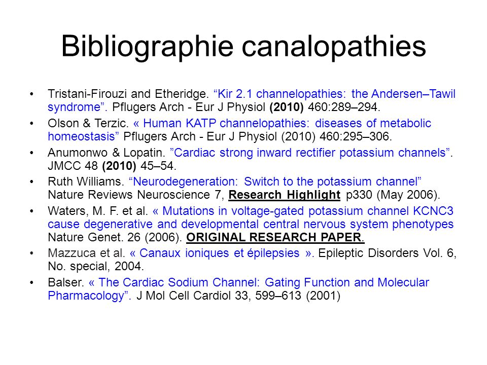 Bibliographie canalopathies