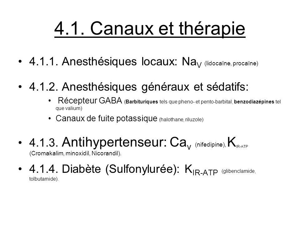 4.1. Canaux et thérapie 4.1.1. Anesthésiques locaux: NaV (lidocaïne, procaïne) 4.1.2. Anesthésiques généraux et sédatifs: