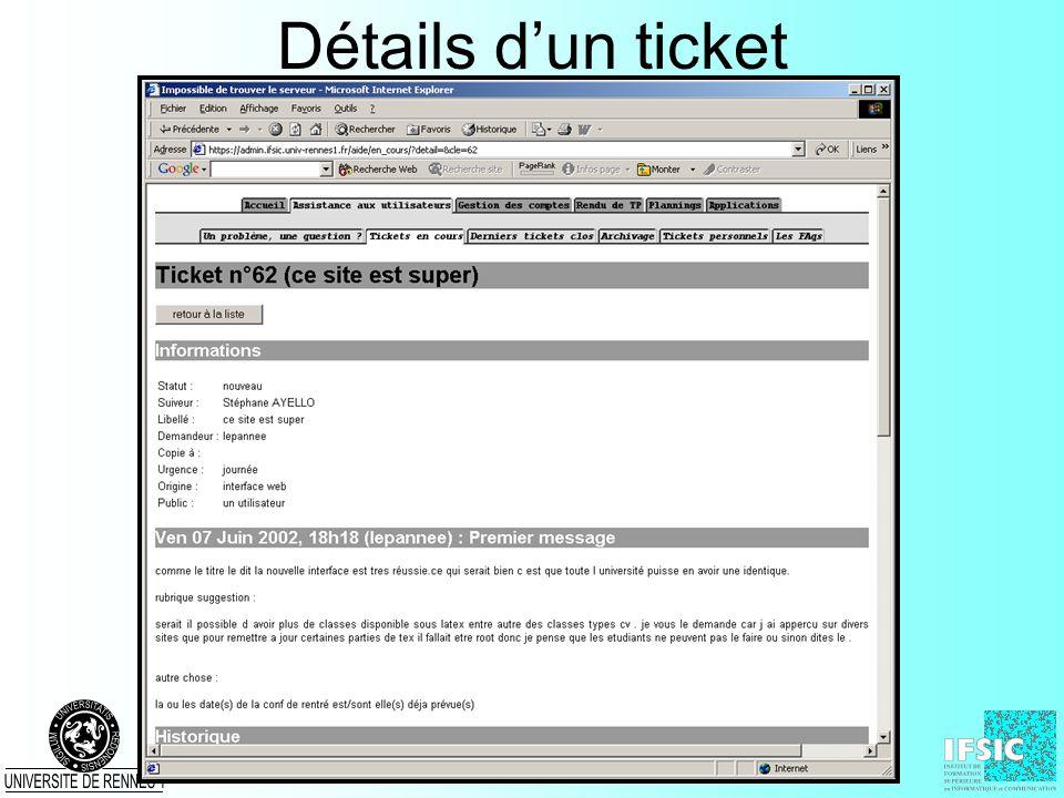 Détails d'un ticket