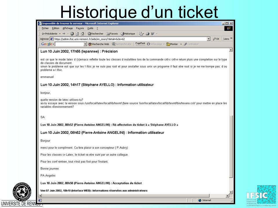 Historique d'un ticket