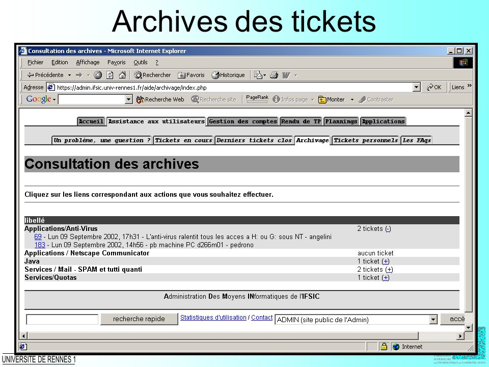 Archives des tickets
