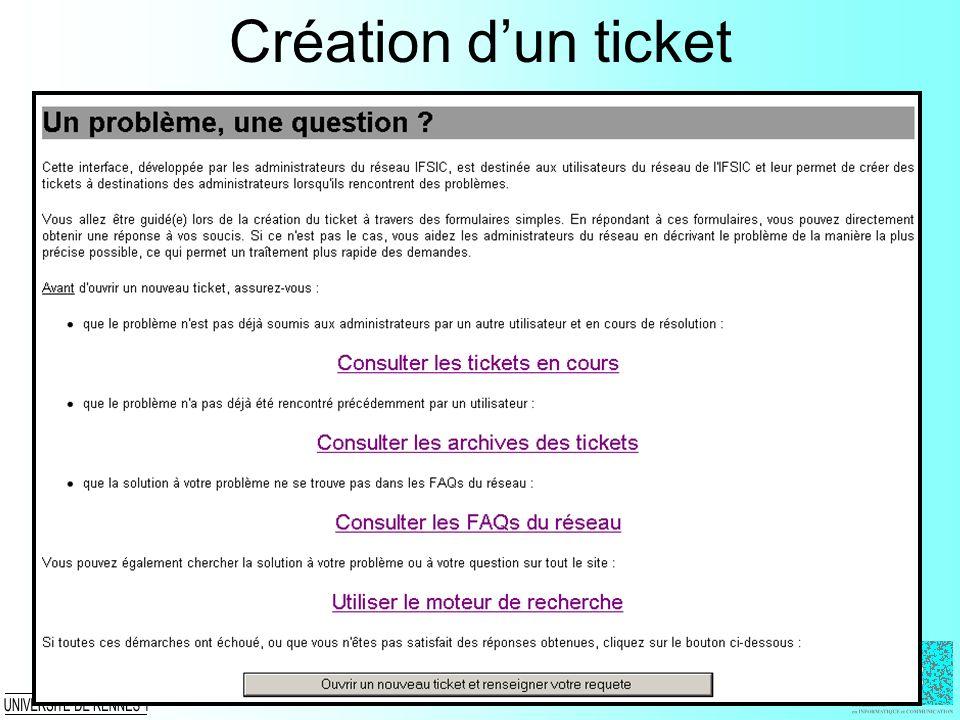 Création d'un ticket