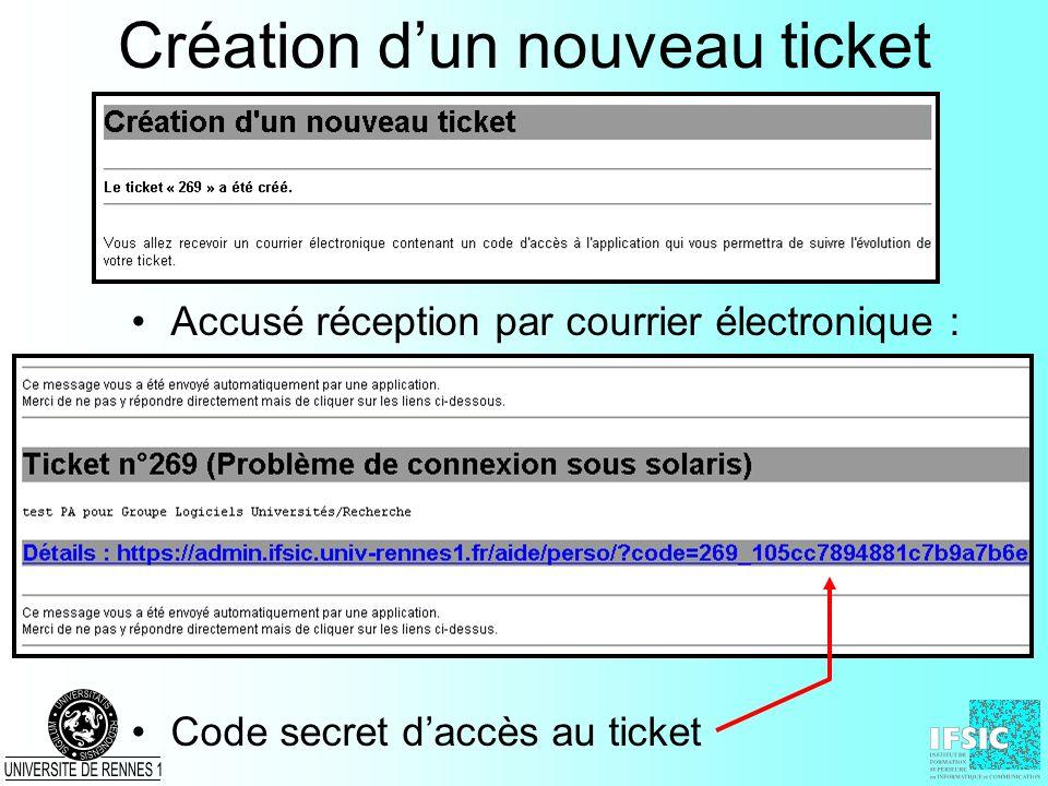 Création d'un nouveau ticket