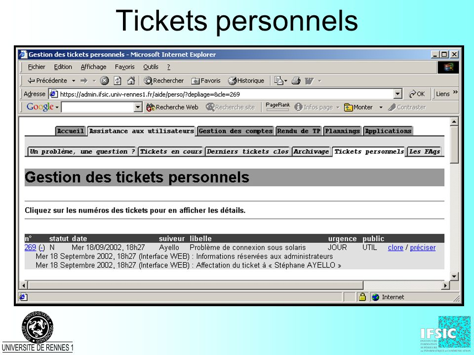 Tickets personnels