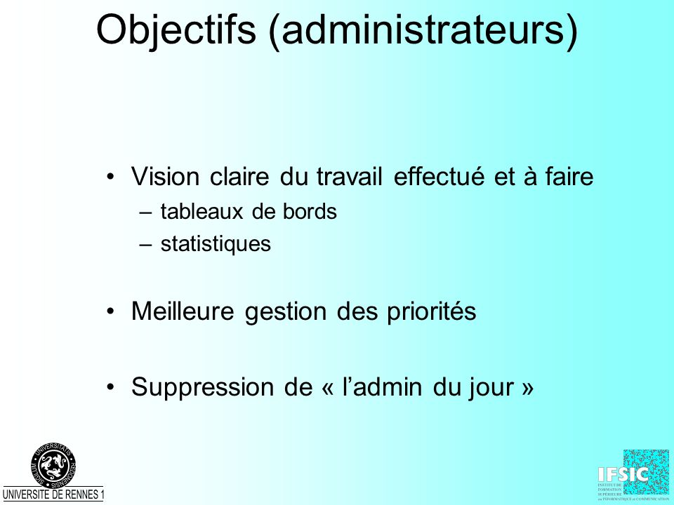 Objectifs (administrateurs)